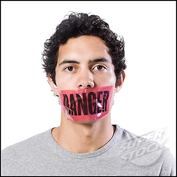 man with danger tape over mouth