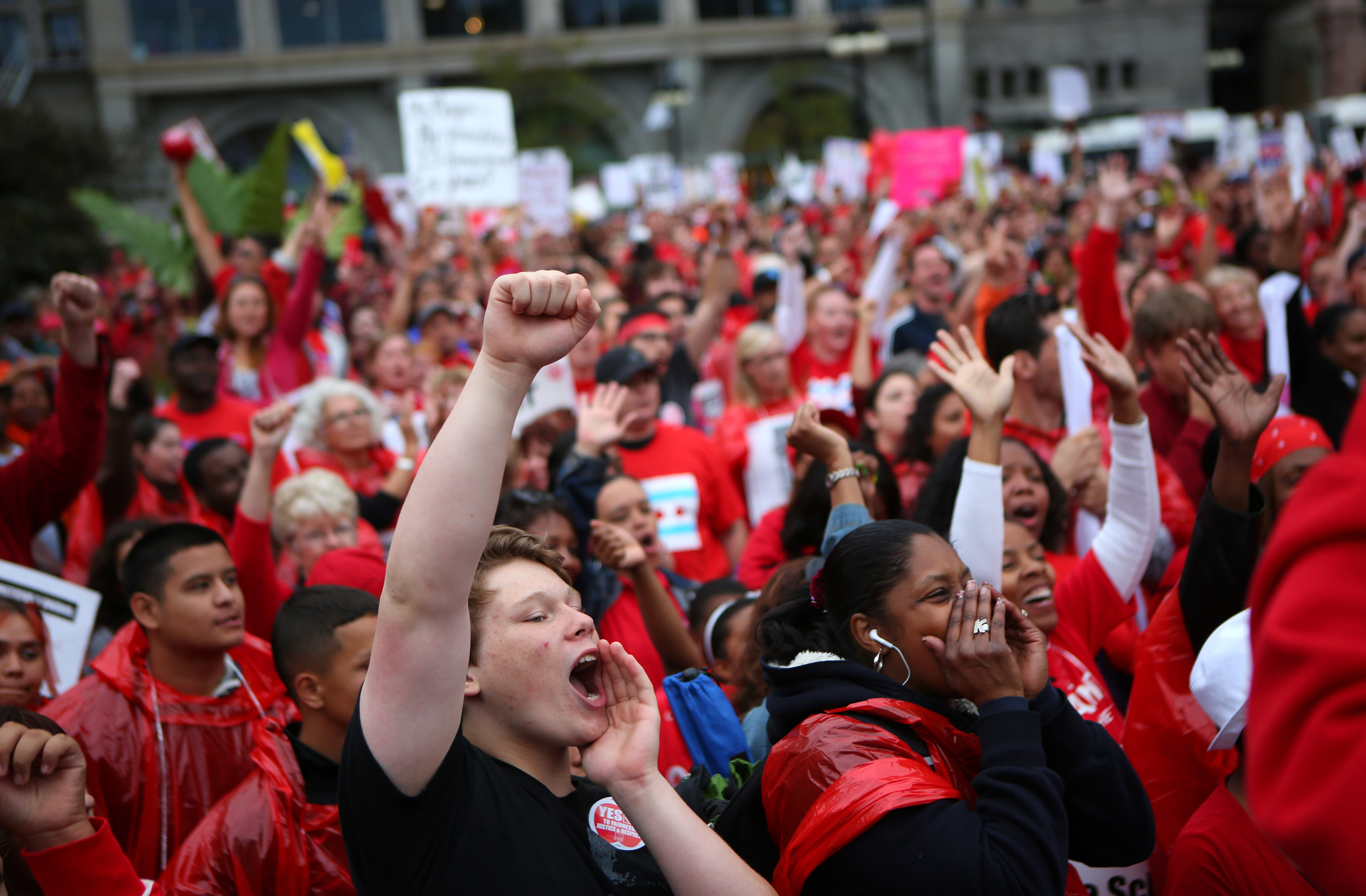 Chicago Teachers Union members and supporters, including some students, rally in Congress Plaza on Michigan Avenue in downtown Chicago, Illinois, Thursday, September 13, 2012. (E. Jason Wambsgans/Chicago Tribune/MCT)
